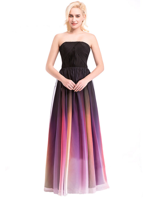 Laceshe Women's Pageant Gradient Color Chiffon Formal Long Bridesmaid Dress