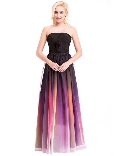 1f3a7019a81 Laceshe Women s Pageant Gradient Color Chiffon Formal Long Bridesmaid Dress  ...