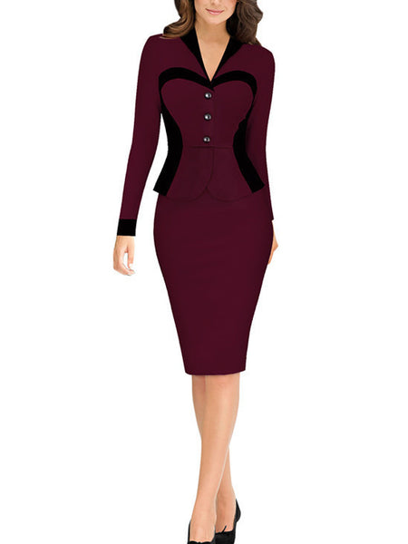 LaceShe Women's Fashionable V-neck Pencil Dress