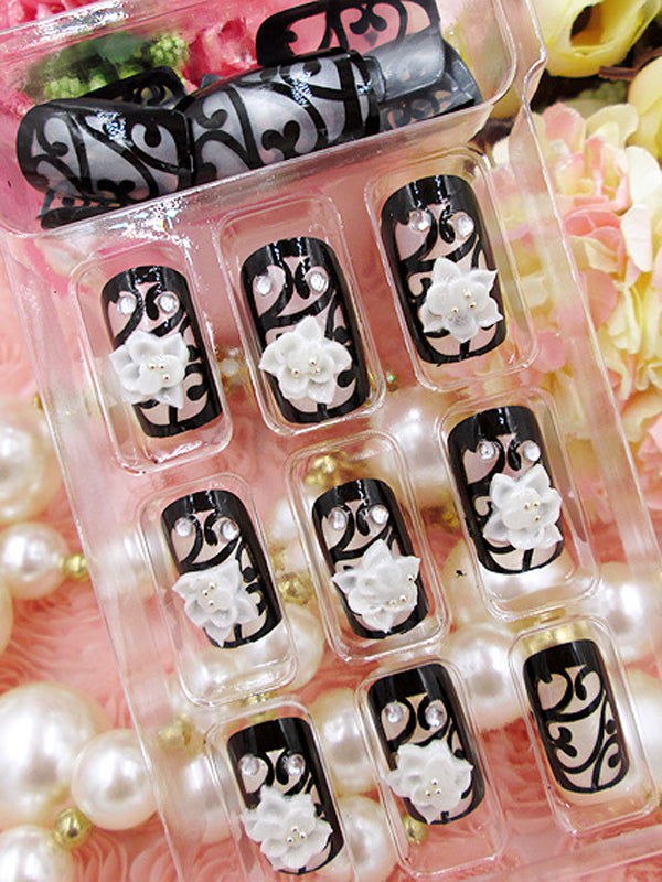 Laceshe 24Pcs/Set Floral Design Fake Nails