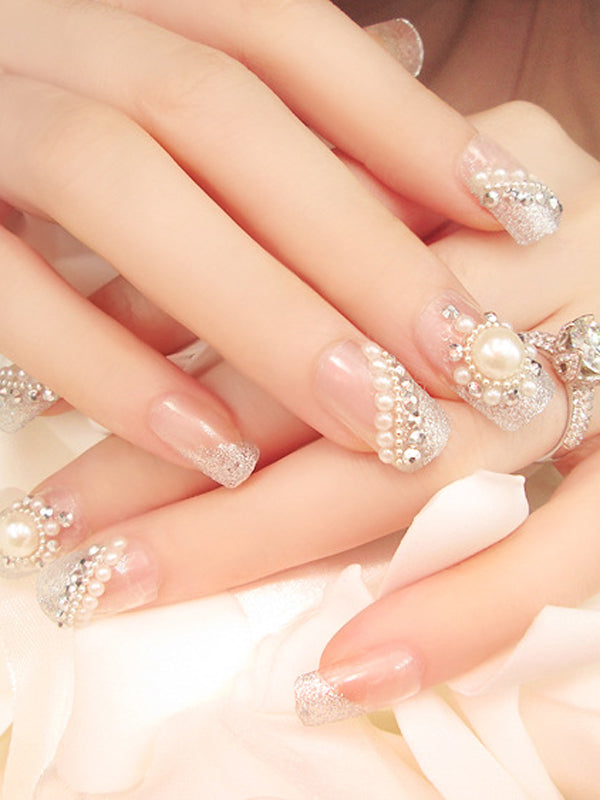 Laceshe Beaded Floral Manicure Fake Nail