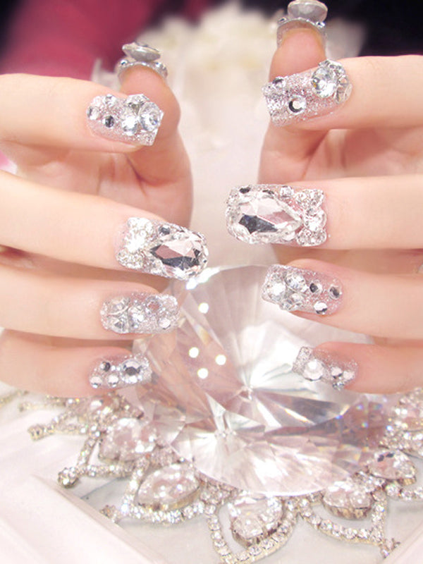 Laceshe 42Pcs Artificial Rhinestone Fake Nails Set