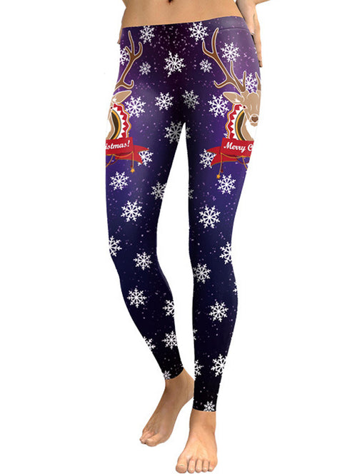 Laceshe Women's Christmas Elk and Snowflake Print leggings