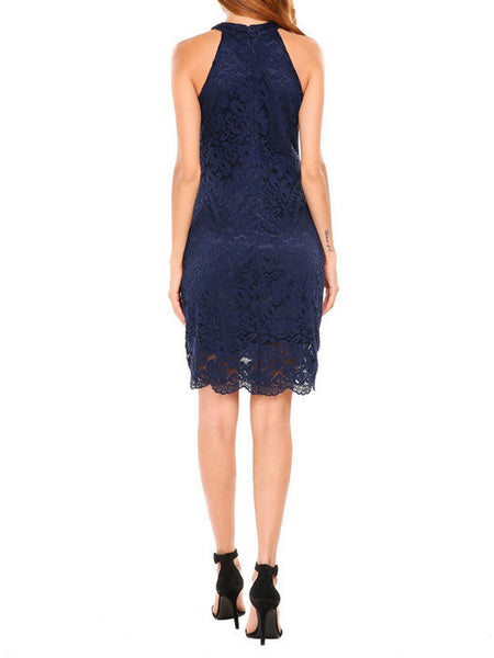 LaceShe Women's Cocktail Dress High Neck Lace Dress