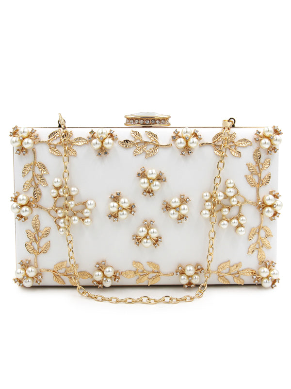 LaceShe Handmade Simple Pearl Evening Handbag
