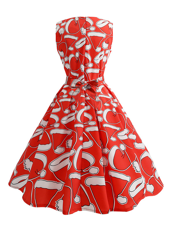 Laceshe Women's Christmas Hats Print Vintage Dress