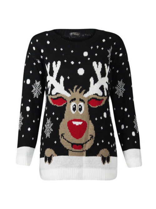 Laceshe Women's Ugly Reindeer Print Sweater