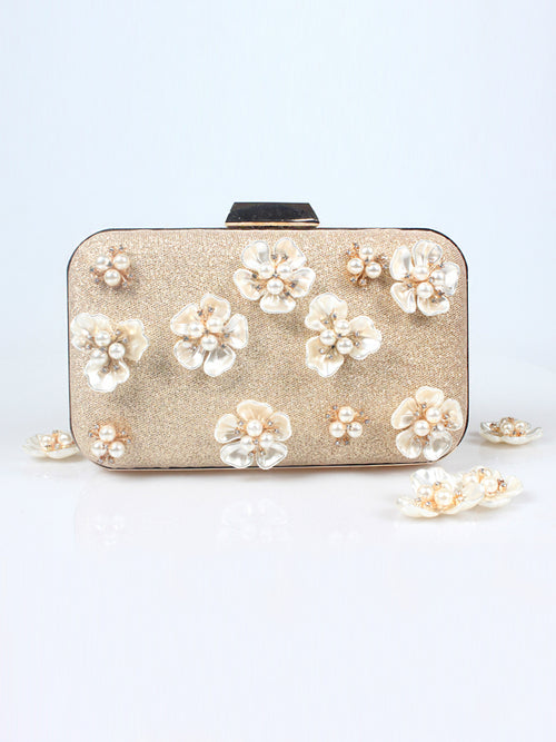 LaceShe Women's Pearl Flower Shining Evening Bag