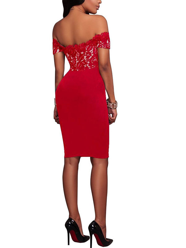 LaceShe Women's Bateau Sheath Party Lace Dress