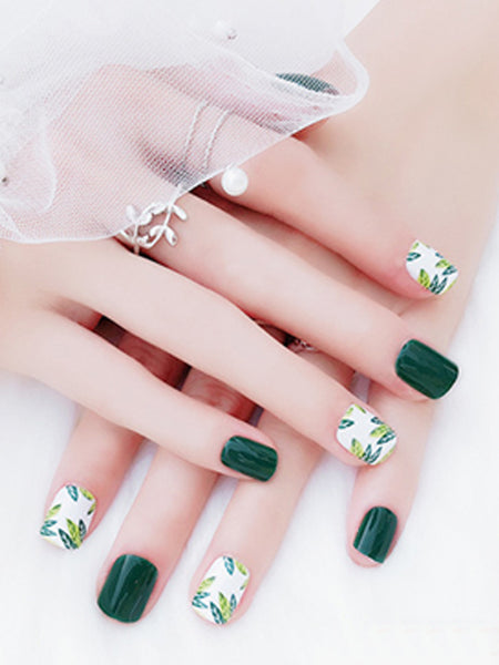 Laceshe Green Short Square Full False Nails Tips