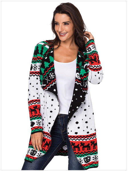 Laceshe Women's Christmas Theme Knit Wide Lapel Sweater