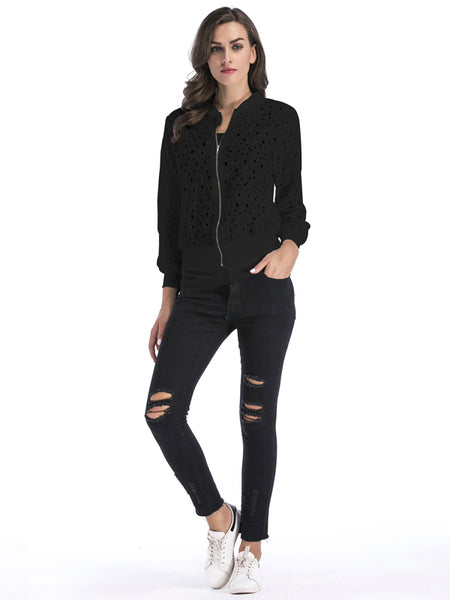 Laceshe Women Lace Hollow Out Outwear