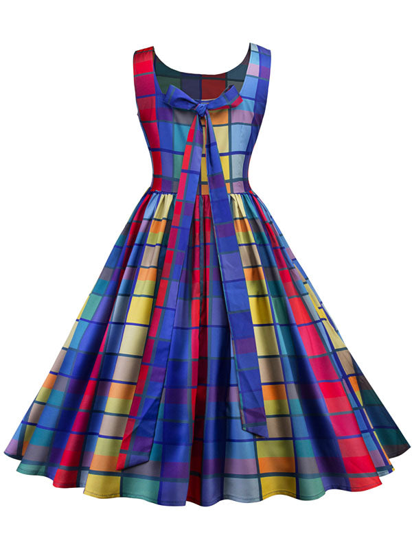 LaceShe Women's Plaid Sleeveless Vintage Dress