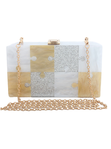 LaceShe Women's Jigsaw Puzzle Bling Formal Handbag