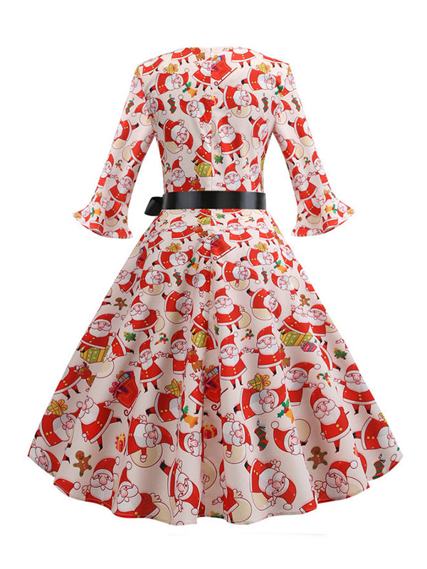 Laceshe Women's Retro Big Swing Christmas Print Vintage Dress