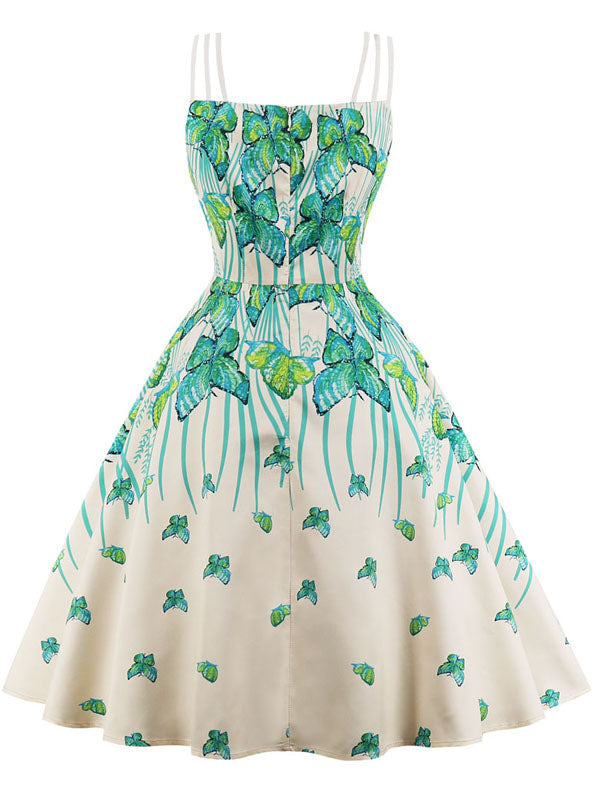 LaceShe Women's Sexy Sexy Sling Butterfly Pattern Vintage Dress