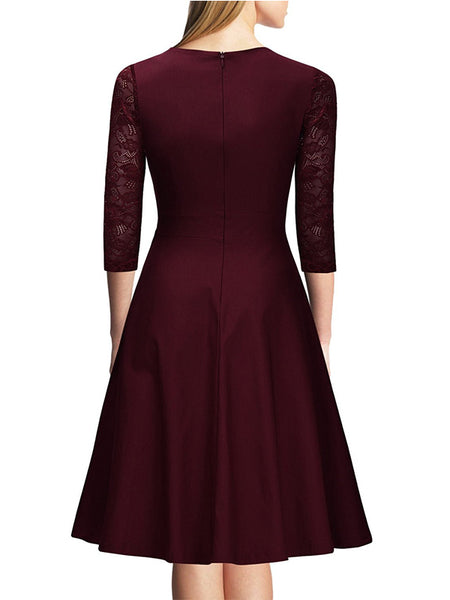 Women's Vintage Square Neck Floral Lace 2/3 Sleeve Cocktail Swing Dress