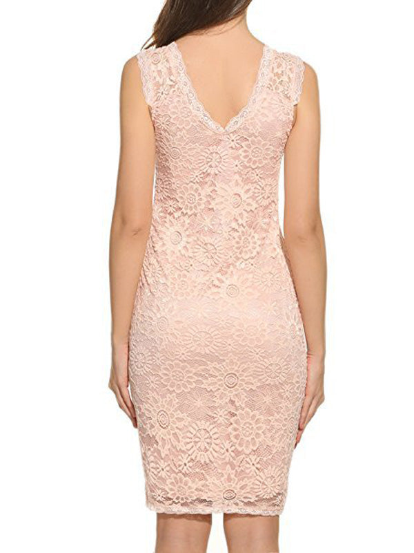 LaceShe Women's Slim Sleeveless Lace Dress