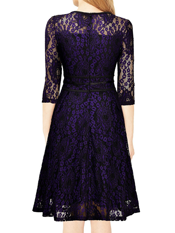 LaceShe Women Floral Lace Evening Party Dress