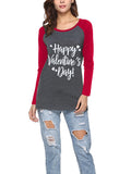 LaceShe Letter Print Long Sleeve Casual Top
