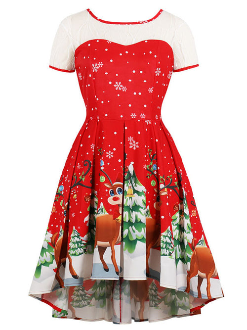 Laceshe Women's Christmas Plus Size Hi-Lo Vintage Dress
