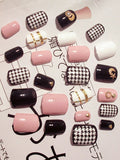 Laceshe 24Pcs/Set Fashion Short Artificial Fake Nails