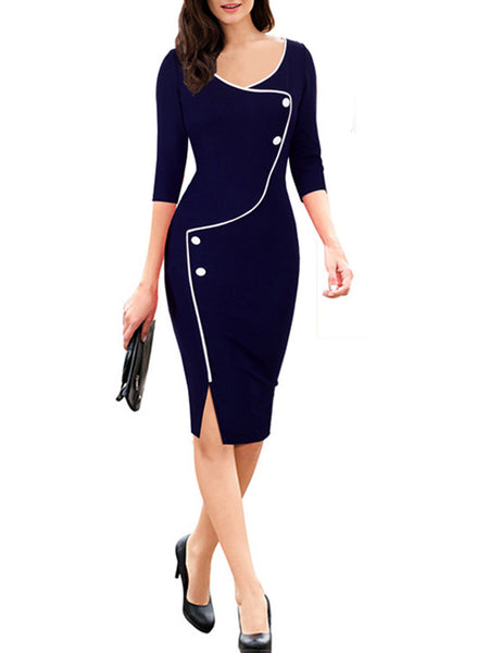 LaceShe Women's Half Sleeve Flattering Pencil Dress