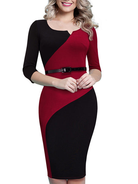 LaceShe Women's  V-Neck Stitching 3/4 Sleeve Dress