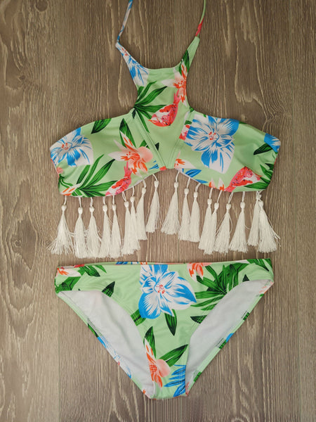 LaceShe Floral High Waisted Tank Bikini Set