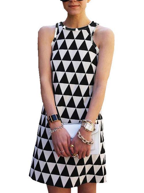 Laceshe Women's Sexy Triangle Pattern Mini Casual Dress