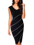 LaceShe Women's  V-Neck Twill Pencil Dress