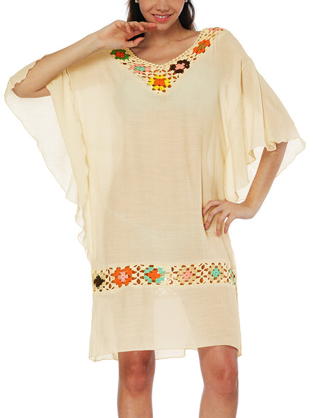 LaceShe Boho Style Multicolor Crochet Cover-up