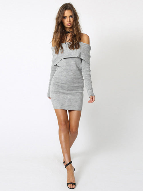LaceShe Women's Off-the-Shoulder Stretchy Sweater Dress