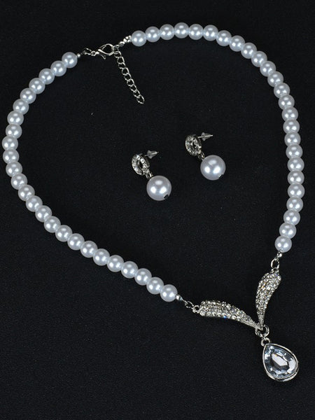 LaceShe Pearl Necklace Earrings Wedding Bridal Jewelry Sets