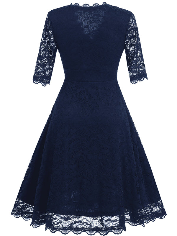 LaceShe Women's Vintage Floral Lace Cocktail Dress