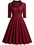 LaceShe Women Polo Neck Burgundy Dress