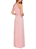 LaceShe Women's Fashion A-line Halter Chiffon Sleeveless Dress