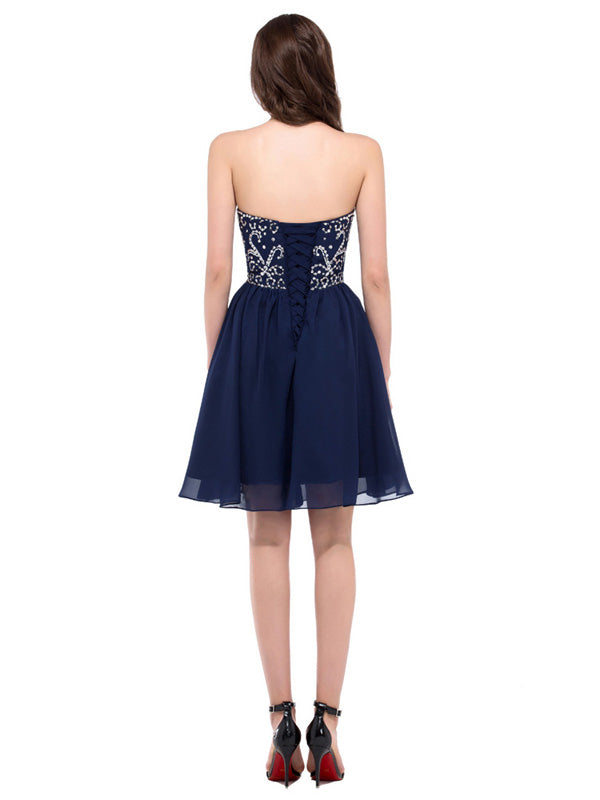 Laceshe Women's Lace up Cocktail Party Dress