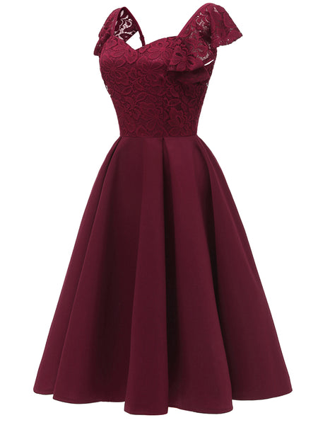 LaceShe Women's Elegant Cocktail A-line Lace Dress