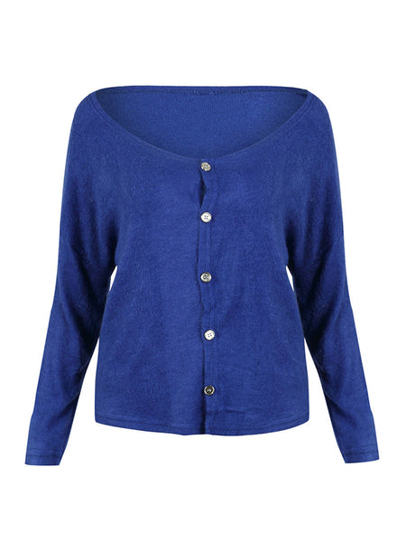 Laceshe Women's Fashion V Neck Button Up Sweater
