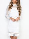 LaceShe Women's Stylish Turtleneck Long Sleeve Lace Dress