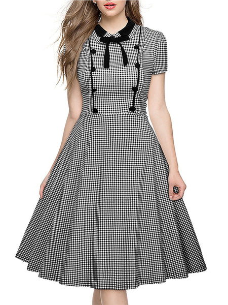 LaceShe Women's Elegant Short Sleeve Plaid Swing Dress