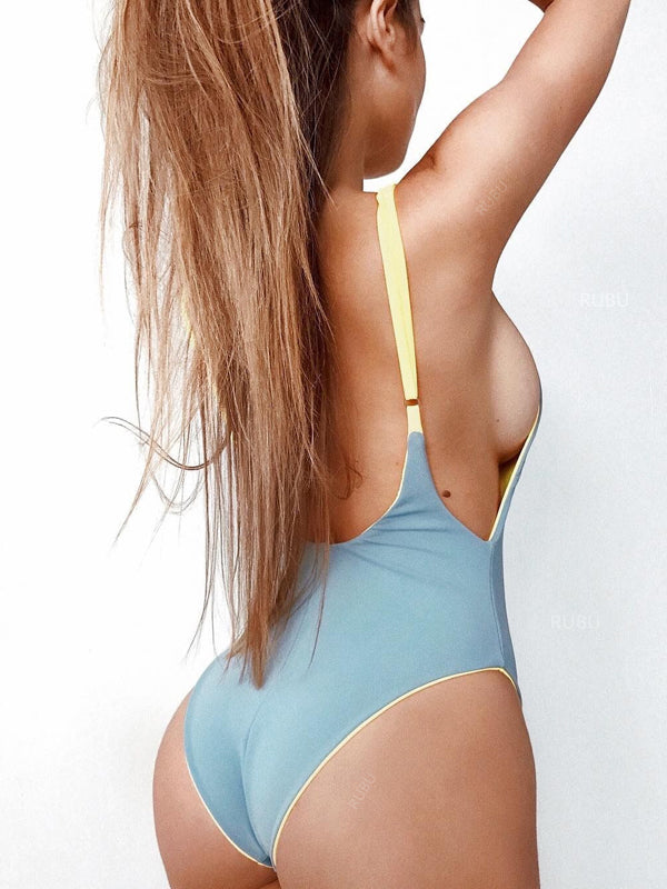 LaceShe Free Space Solid One-piece Swimsuit