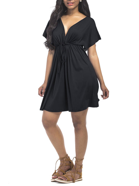 LaceShe Women's Deep V-Neck Short Sleeve Casual Dress