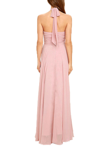 LaceShe Women's Sexy Halter Chiffon Dress