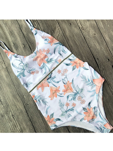 LaceShe Summer Young And Vigor Print One-piece Swimsuit