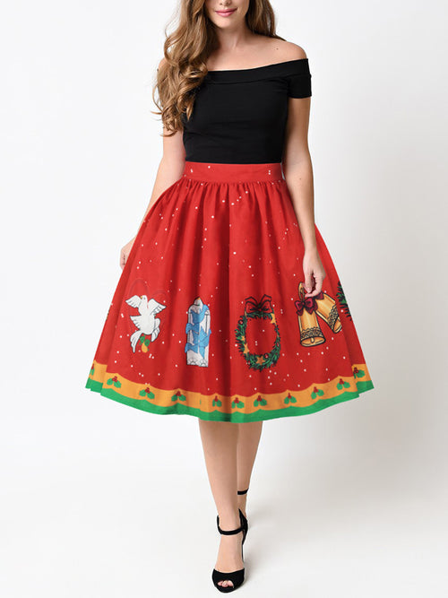 LaceShe Women's Christmas Floral Skirts