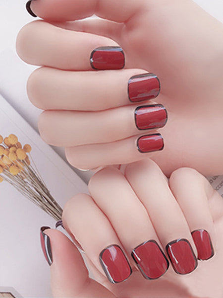 LaceShe Burgundy Short Full Cover False Nails