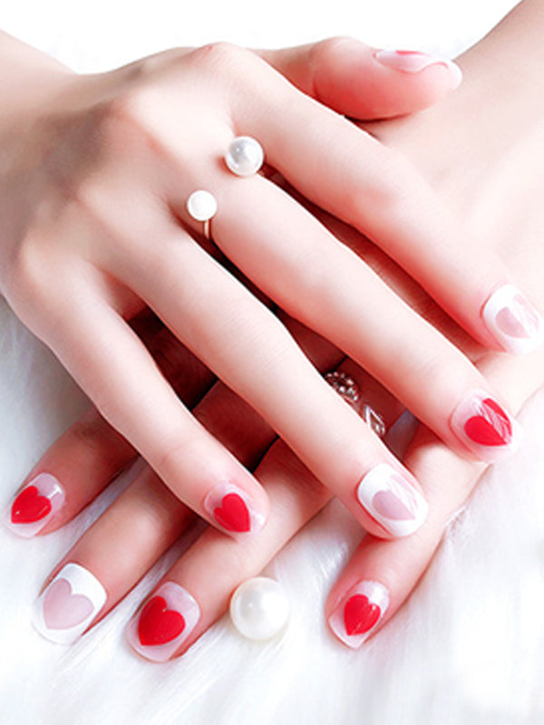 Laceshe Daily Short Full Cover False Nails With Designs