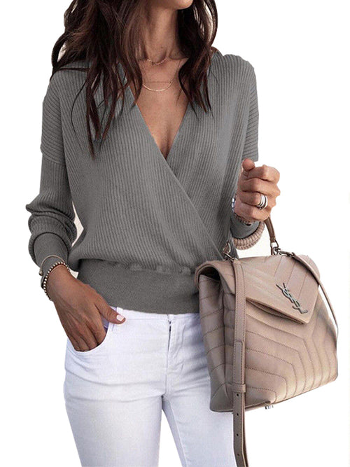 Laceshe Women's Deep V Neck Solid Color Sweater
